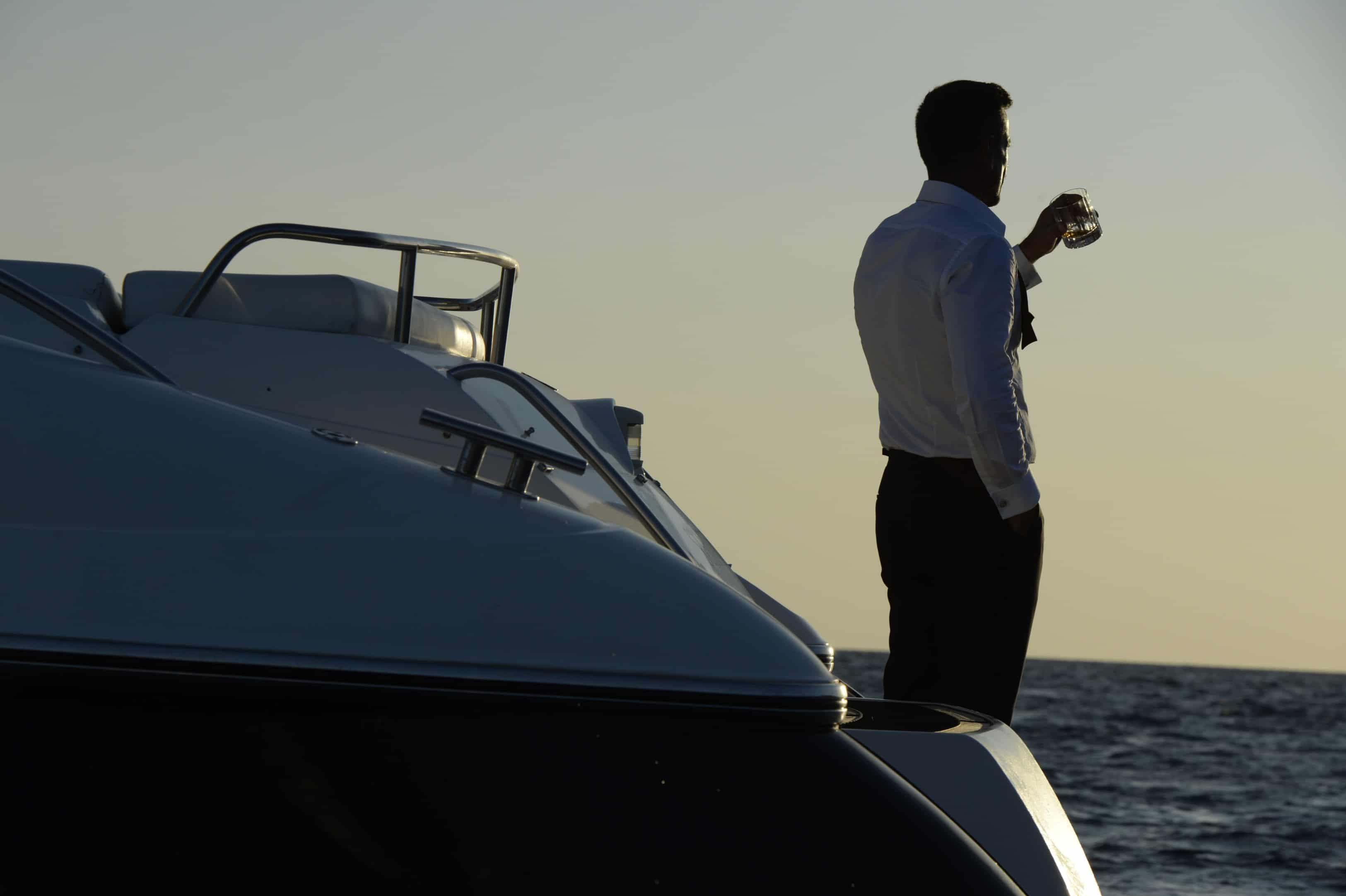 Azure Ultra Model Standing on Rear of Yacht