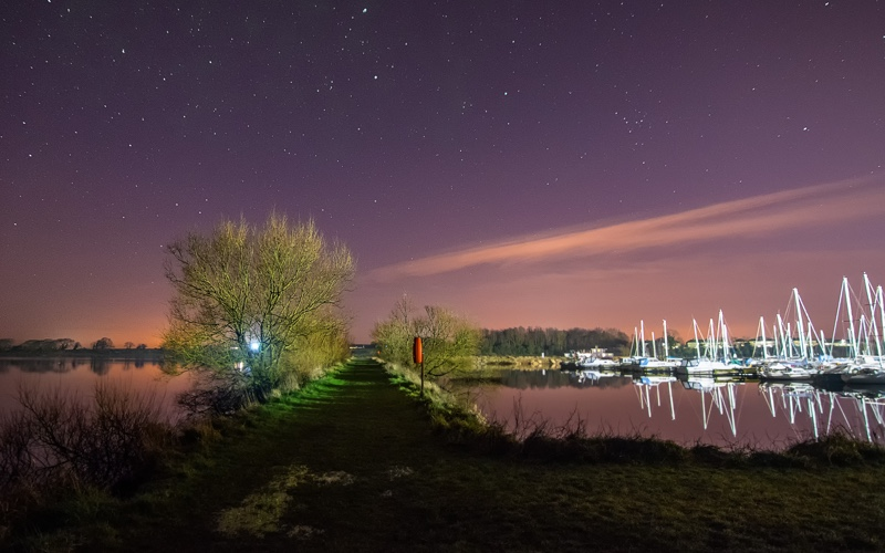 Night shot over the marina in Kinnego.