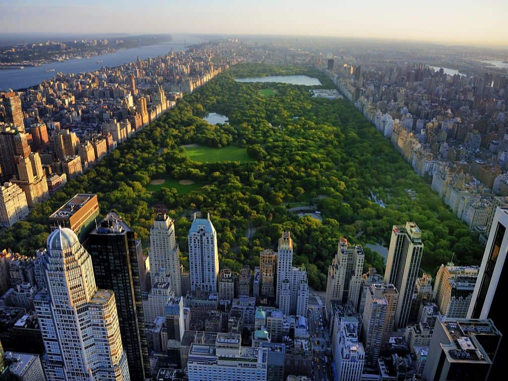 Aerial View of New York and Central Park