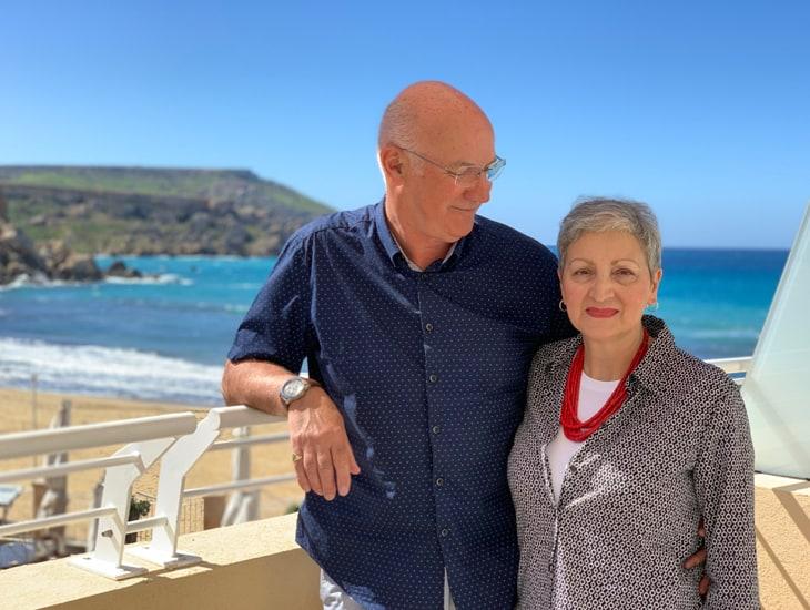 Dee & Graham Slight at the Golden Sands Resort & Spa, Malta.